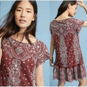 Feather Bone Anthropologie ynez Dress Medium MP